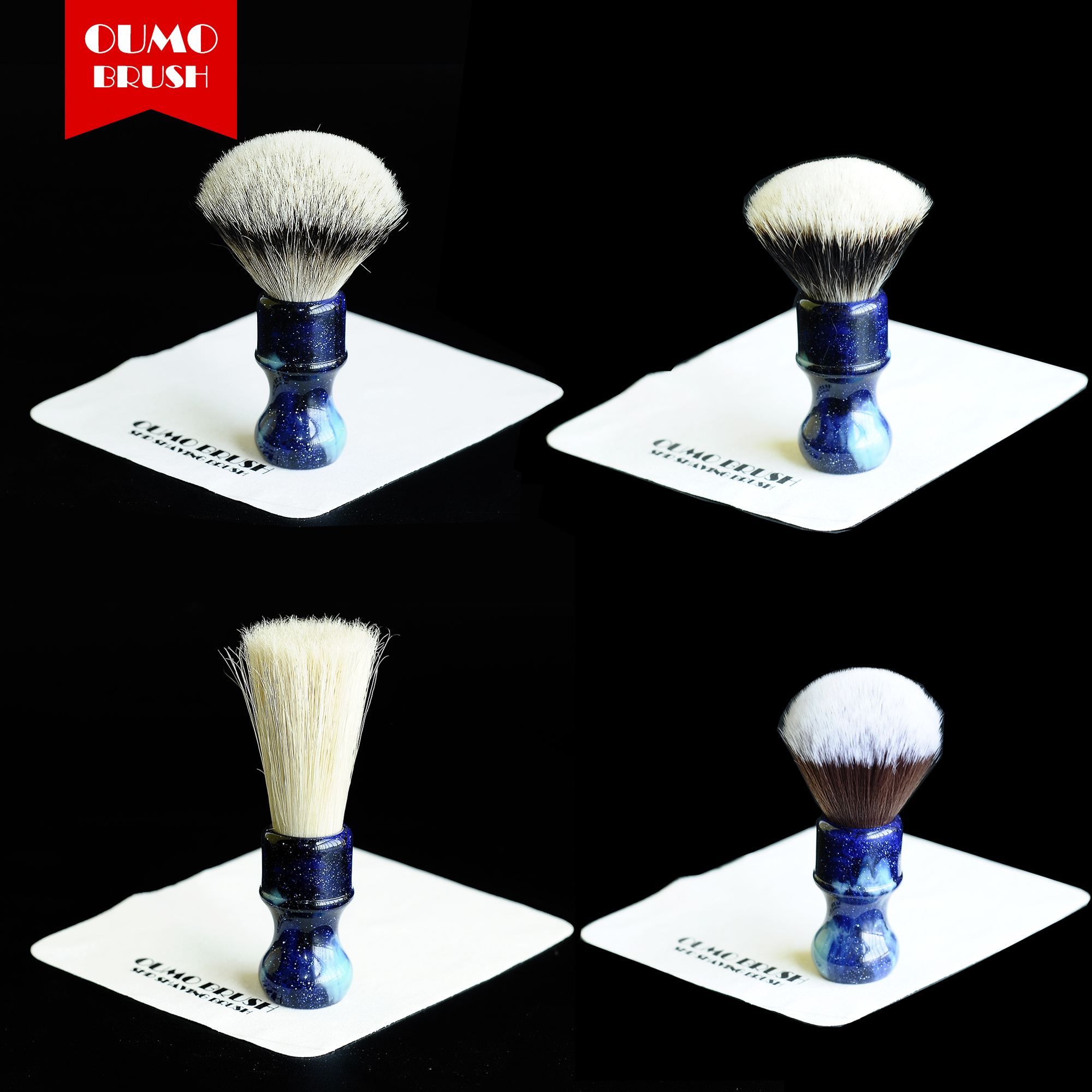 OUMO BRUSH-Star Blue Resin Handle Whit Badger Bristle Synthetic Knot Full Shaving Brushes