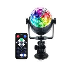 Bola mágica de cristal rgb ktv festa carro usb controle remoto ventosa colorida rotação luz do palco discoteca