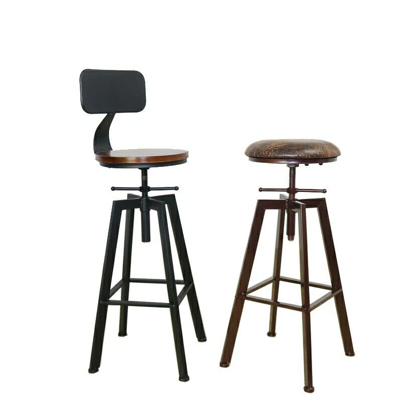 Nordic Iron Bar Chair Industrial Wind Rotating  Stool Domestic Lift   Solid Wood High  Backrest