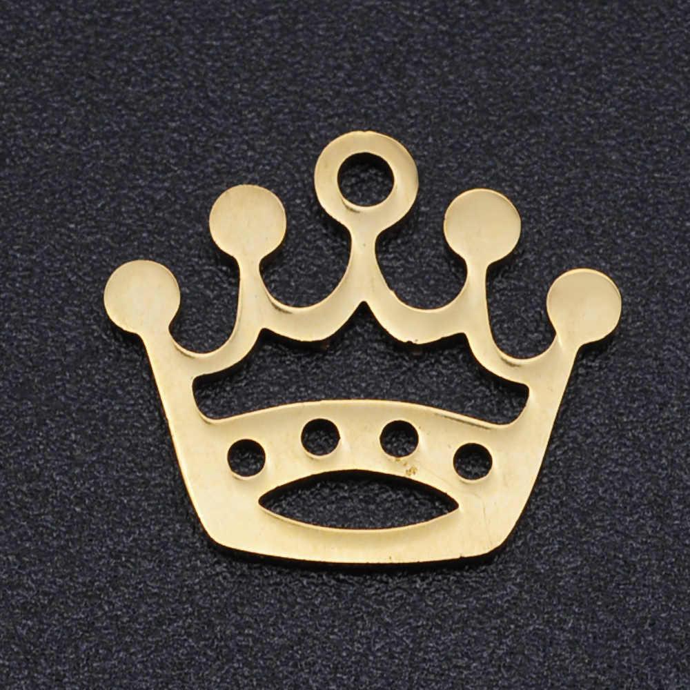 5 Buah/Banyak Menjalankan Yoga DIY Hiasan Grosir 100% Stainless Steel Gelombang Gunung Konektor Pesona Mahkota Balet Perhiasan Liontin
