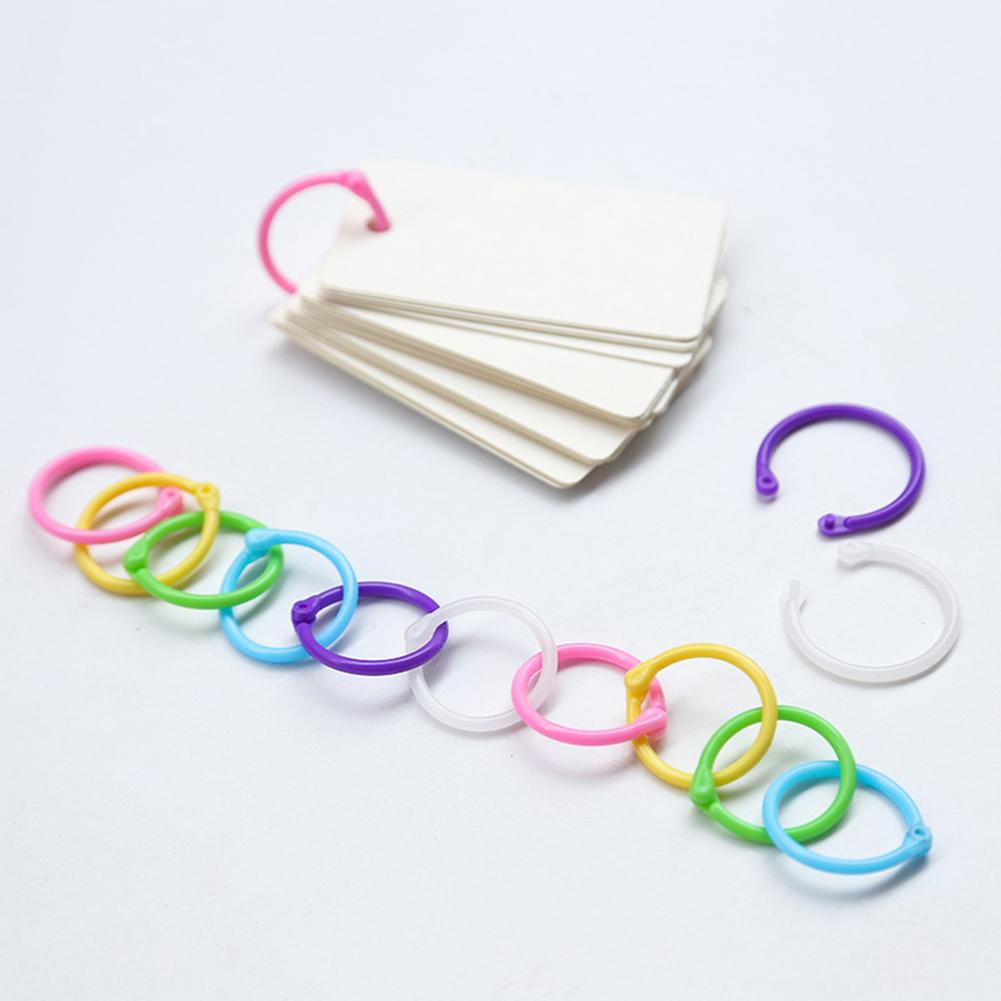 30Pcs Plastic Loose Leaf Binding Rings Candy Color Coil Binder Hoop Holder Tool