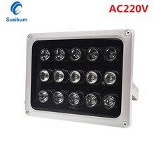 AC 220V 15Pcs Array IR illuminator infrared lamp CCTV Camera Fill Light IR Outdoor IP65 Waterproof Night Vision for Camera