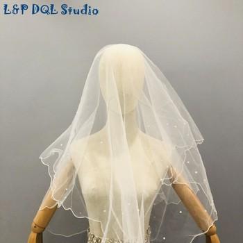 L&P DQL Studio Real Pictures Ivory & Red Wedding Veils Short Bridal Veils Free Shipping 2020 harbin slim line pocket transit h dql 2a dql 2a dql2a geological compass