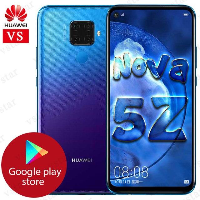 Original huawei nova 5z smartphone 6.26 polegada kirin 810 octa núcleo 6gb 64/128gb impressão digital desbloqueio apoio google play