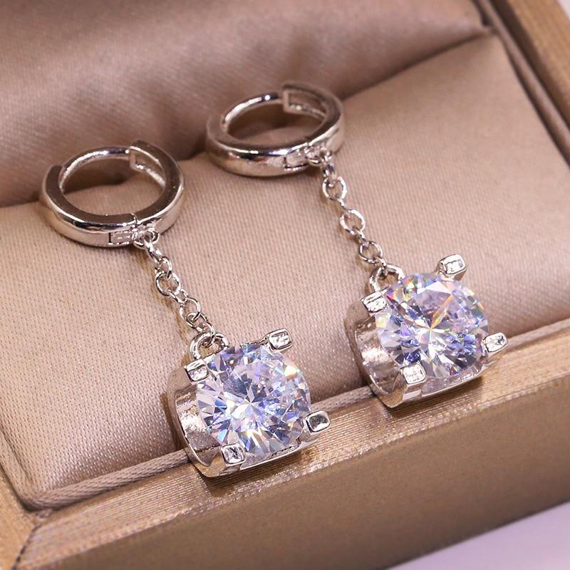 2019 New Cute Silver Long Drop Earrings with Zircon Stone for Women Fashion Jewelry Korean Earrings