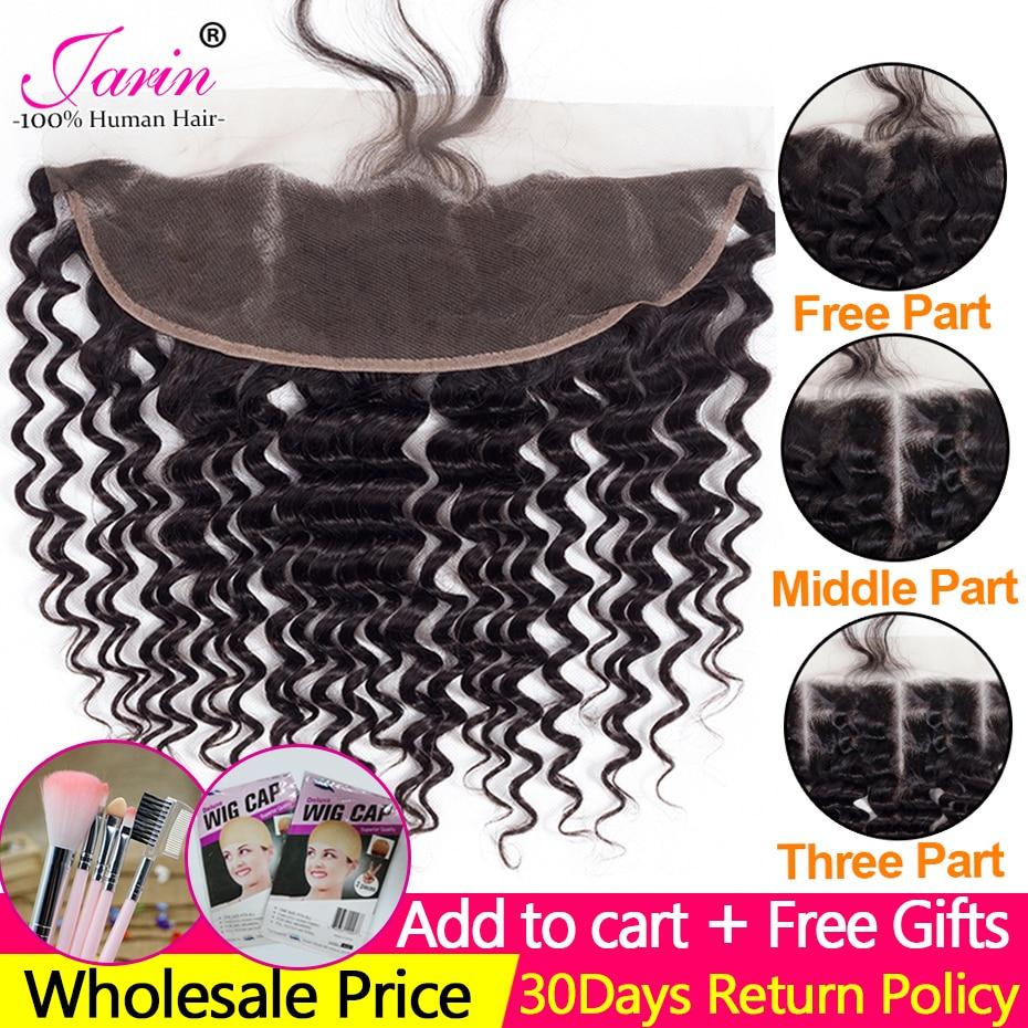2-5-10 peças/lote fechamento frontal 13x4 do cabelo humano da onda profunda do laço com cabelo do bebê pré arrancado cabelo livre meio três parte jarin