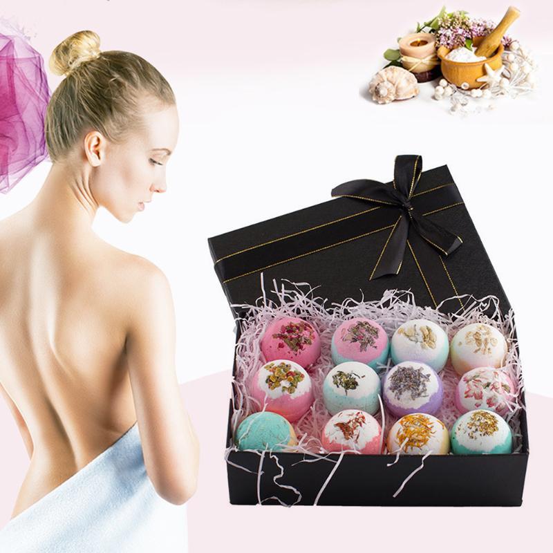 12pcs Bath Shower Ball Natural Bath Salt Bubble Bombs Body Scrub Cleaner Women Skin Care Spa Essential Oil Soap Bath Salt