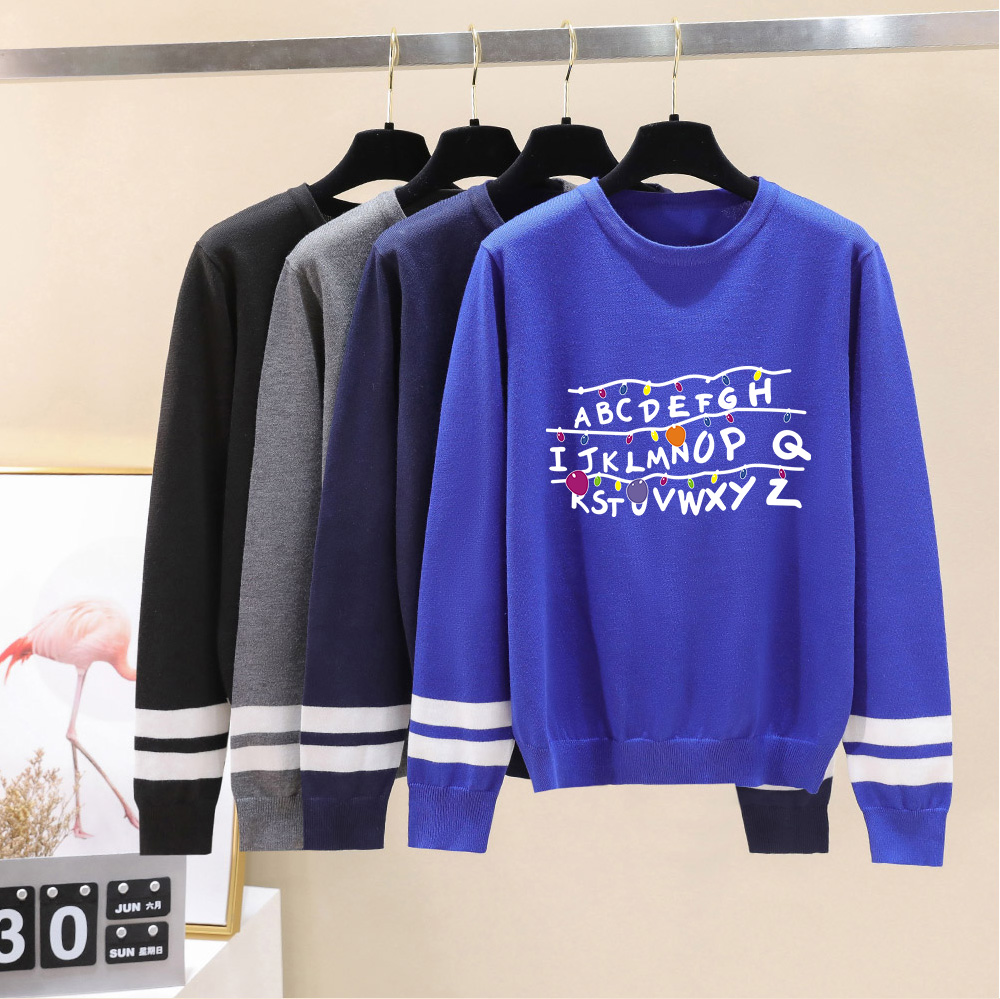Stranger Things Print Warm Sweaters In Couples New Fashion Autumn Winter Long Sleeve Warm Casual Knitted Casual Sweater