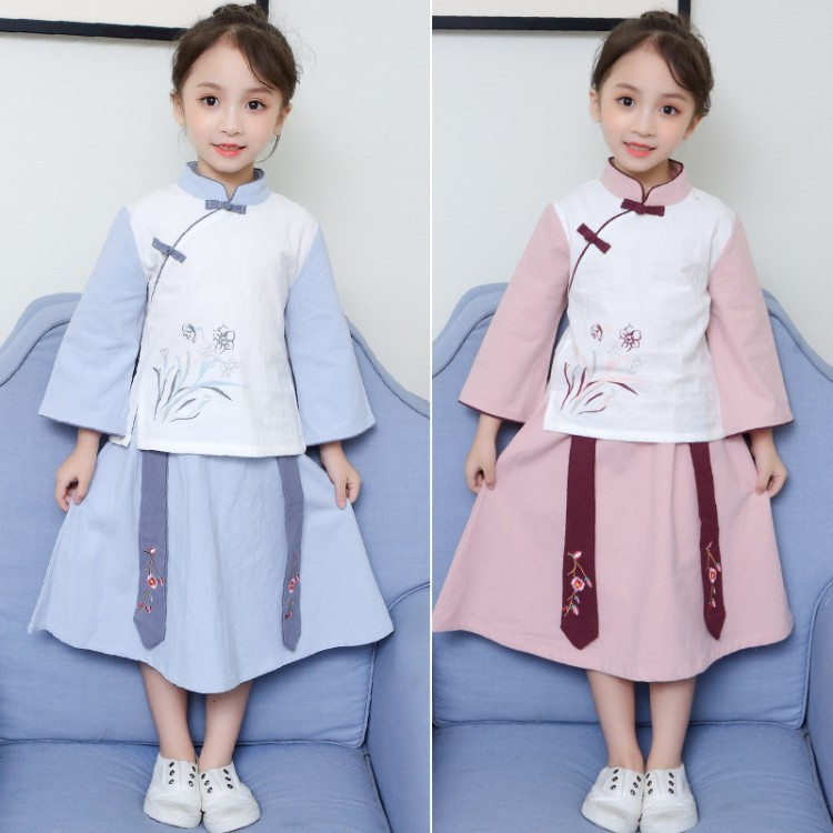Girls Chinese Costume Children Spring And Autumn Chinese Clothing Skirt Chinese-style Cheongsam Set Little Girl Clothes Embroide