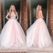 Розовый тонкие лямки Тюлевое платье для выпускного вечера с