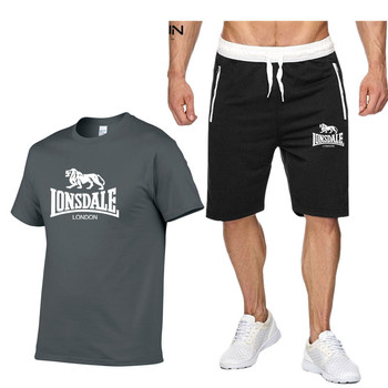 Lonsdale Tracksuit Hot sale Summer T-shirt+Pants Set Casual Brand Fitness Jogger Pants T shirt Hip Hop Fashion Men's Tracksuits цена 2017