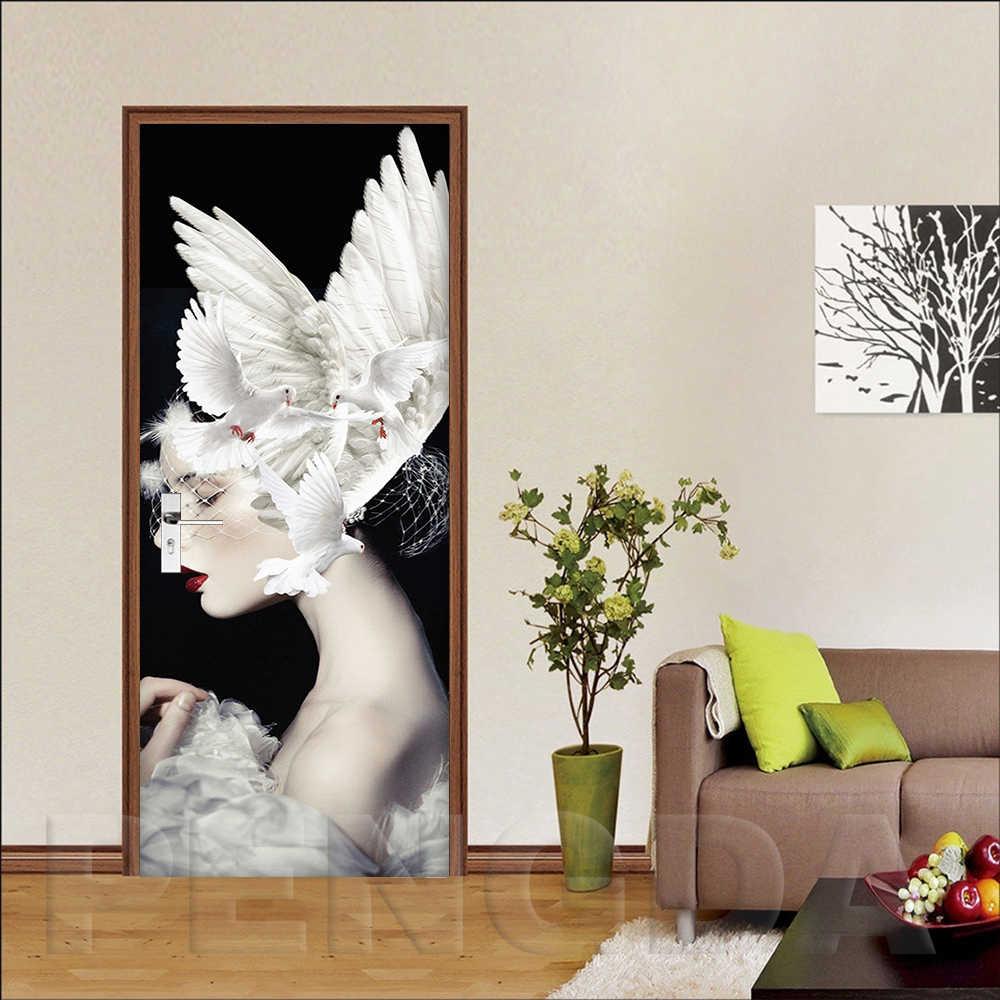 3D наклейка на дверь самоклеящаяся девушка голубь картина домашний Декор ПВХ для гостиной охрана окружающей среды водонепроницаемый принт работа