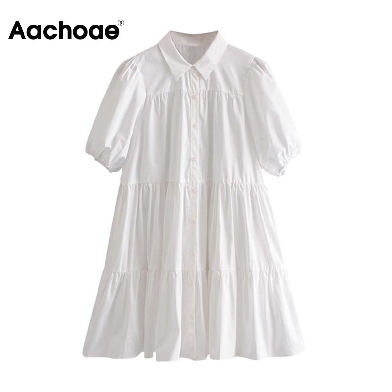Aachoae Casual White Mini Dress Women Lantern Short Sleeve Female Pleated Dress Turn Down Collar Plus Size Ladies Dresses Robe