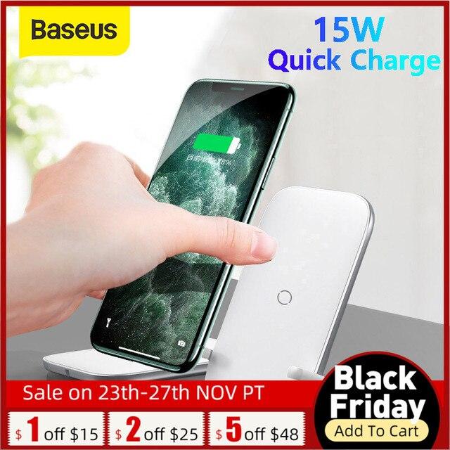 Baseus qi suporte do carregador sem fio para iphone 11 pro x xs 8 xr samsung s9 s10 s8 s10e rápido estação de carregamento sem fio suporte do telefone