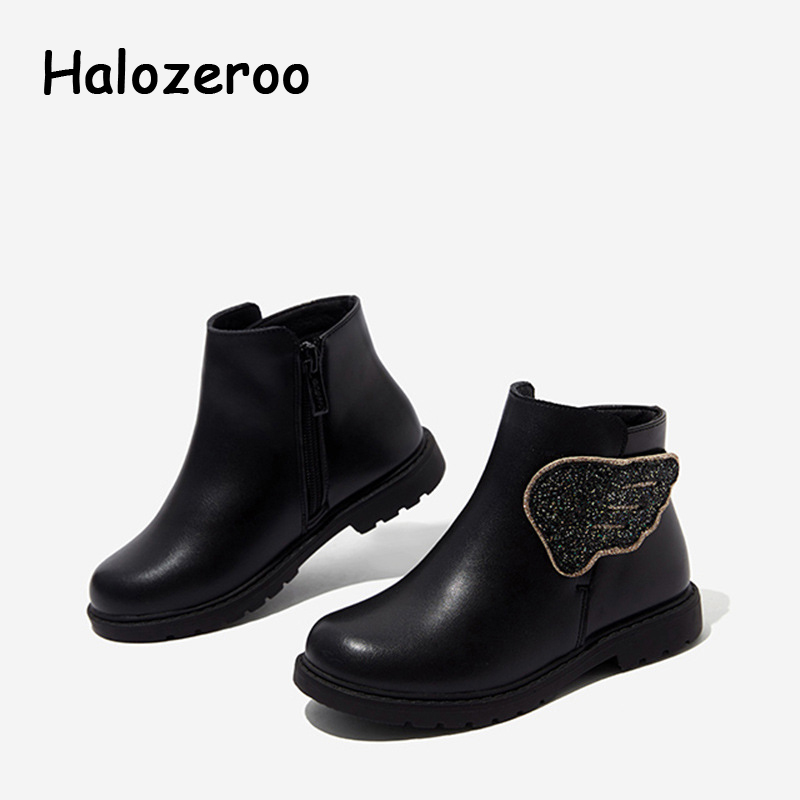 Winter Kids Princess Boots Baby Girls Glitter Shoes Children Genuine Leather Boots Fashion Warm Boots Sweet Black Brand Shoes