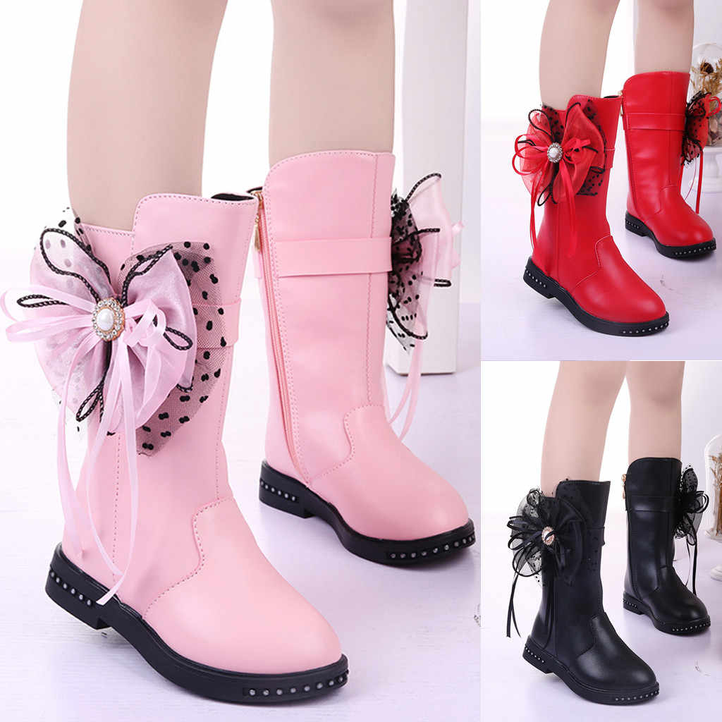 Children Girls Fashion Butterfly Knot Shoes PU Leather Waterproof Martin Boots Toddler Kids Warm Winter Kids Snow Boots Sneakers