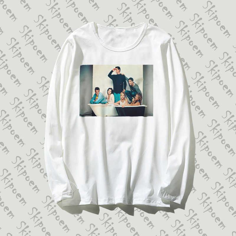 Nuovo Cotone Puro T-Shirt Amici TV Di Arte di Modo Stampato A Maniche Lunghe Moda casual Magliette e Camicette di Marca Unisex Abbigliamento tshirt donne