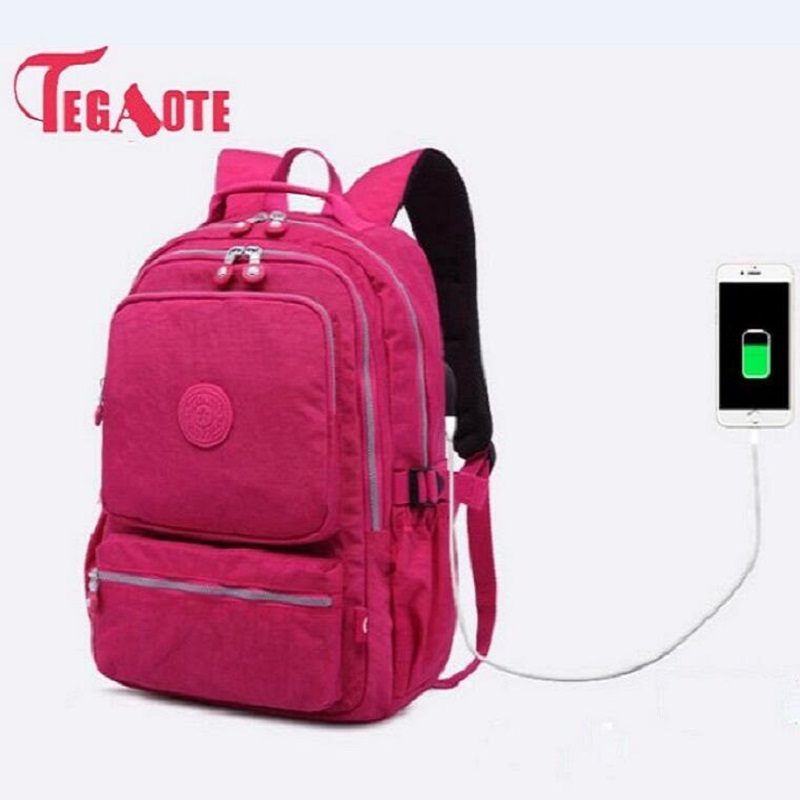TEGAOTE Women School Backpacks Anti Theft USB Charge Backpack Mens Laptop Bagpack School Bags For Teenage Girls Mochila Travel