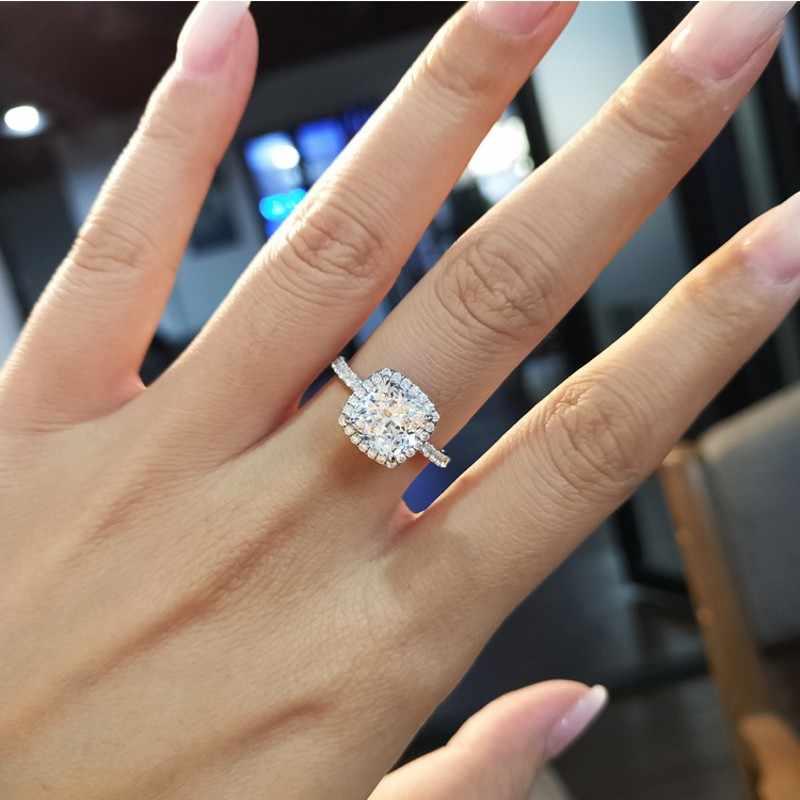 Kissen cut 3ct Lab Diamant Ring 925 sterling silber Schmuck, Verlobung, Hochzeit band Ringe für Frauen Braut Fein Party zubehör