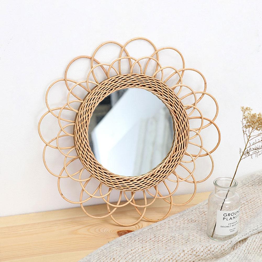 Handmade Rattan Wall-Mounted Mirror Hanging decor Mirror Circle Woven Bamboo Wicker Modern Decor For Living Room Bathroom