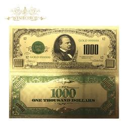 10 шт./лот красочные с покрытыем цвета чистого 24 каратного золота банкноты USD 1000 доллар банкноты поддельные деньги. 999 Америка банкнота для су...