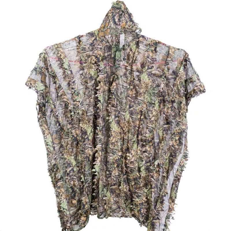 3D Hunting Camouflage Suit With Cap Clothes Jungle Cloak Poncho Camo Bionic Leaf For Sniper Photography