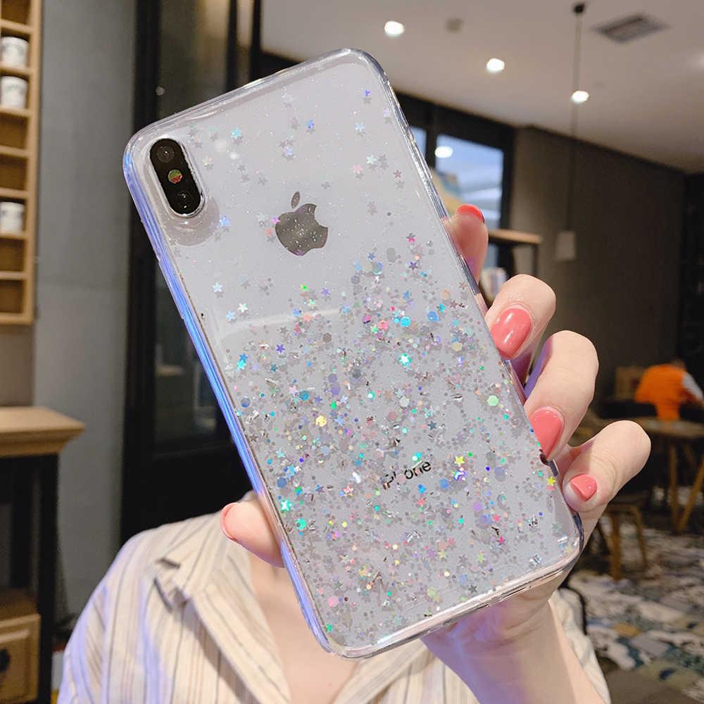 Glitter Bling Sequins kılıf Iphone 8 7 artı XR XS 6 6s epoksi yıldız iphone 12 11 pro MAX X XR yumuşak şeffaf TPU kapak