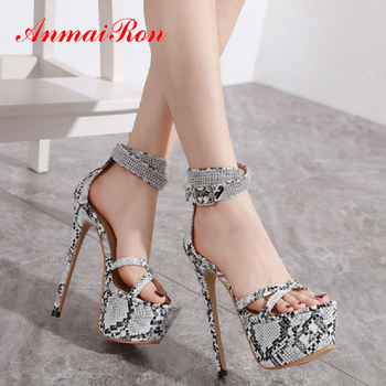 ANMAIRON 2020 Sexy Animal Prints Buckle Strap High Heel Sandals PU Luxury Shoes Women Designers Thin Heel Platform Sandals 34-40