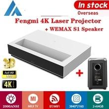 Projektor laserowy Fengmi TV 4K Full HD 3D kino Android S1 głośnik Subwoofer 2000ANSI 150 cala ALPD BT MIUI TV domowy projektor
