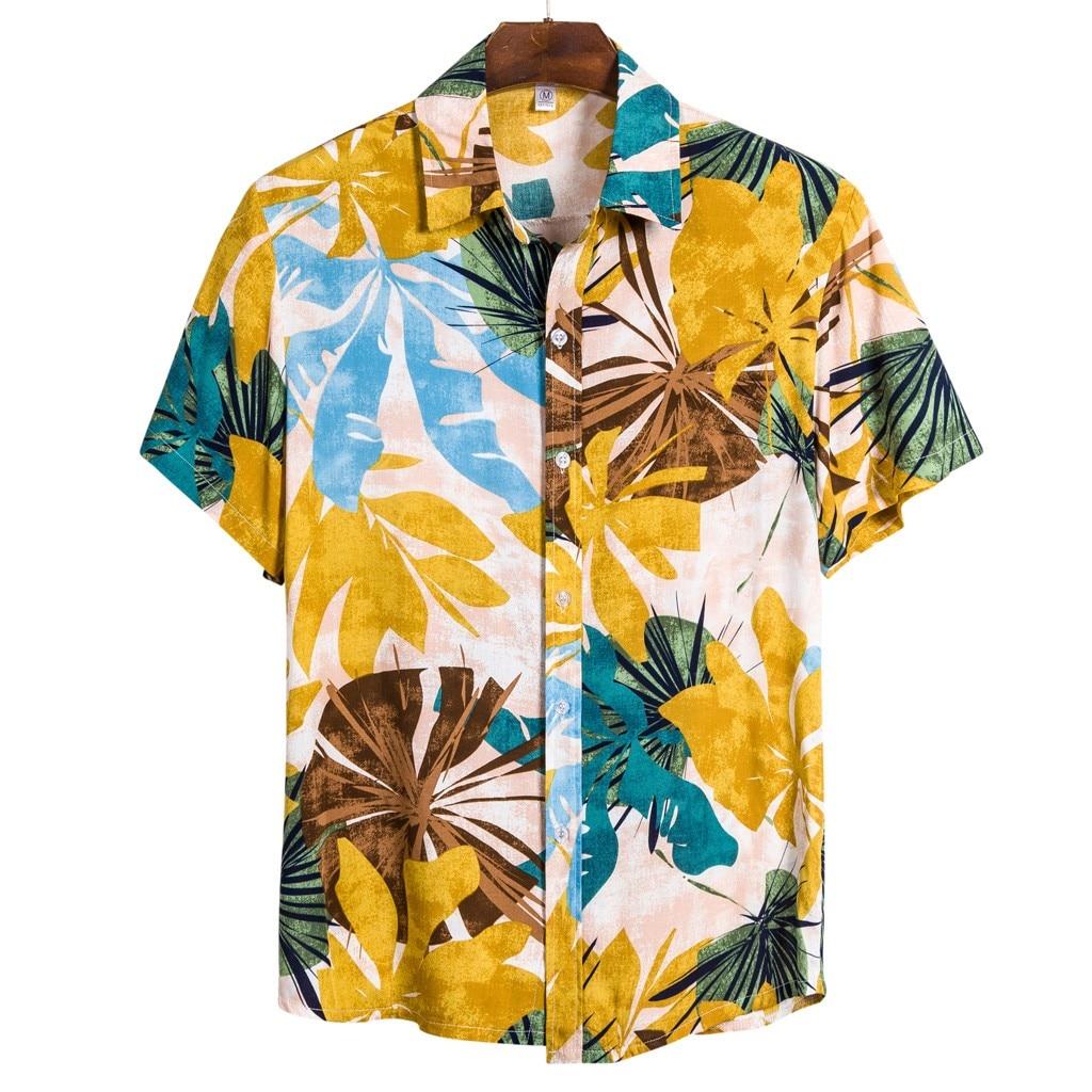 Plus Size Men Ethnic Short Sleeve Casual Printing Hawaiian Shirt Blouse M-3XL Shirts Camisa Social Masculina 2020 Summer рубашка