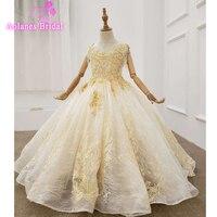 Lace Tulle Pink Ball Gown Flower Girl Dresses For Wedding Full Long Sleeves Communion Dresses Vestido Daminha