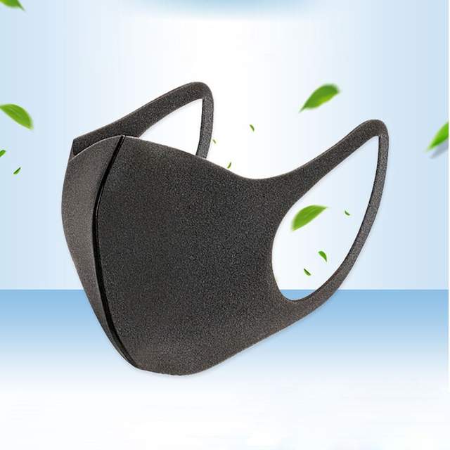 5Pcs/Lot Fashion Black Sponge Mouth Mask Unisex Face Mask Reusable Shield Wind Proof Mouth Cover for Men Women 3