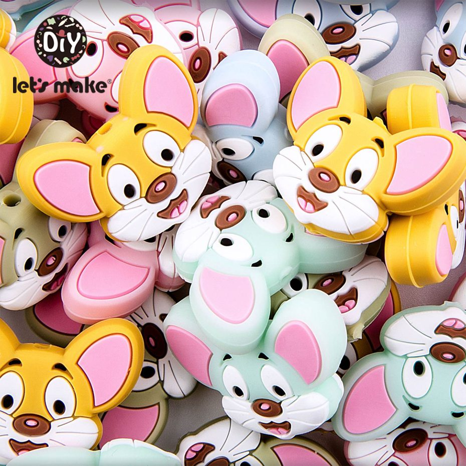 Let'S Make 10Pc Baby Silicone Teether Cartoon Mouse Beads Bpa Free Bead Pacifier Chain Necklace Diy Accessories Baby Teether