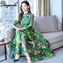 Dingaozlz 2019 New Butterfly Printed Chiffon Dresses Bow tie Long Sleeve Women Dresses Autumn Maxi dress Plus size цена