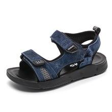 Soft Bottom Rubber Kids Sandals for Boys 2019 New Genuine Leather Chidlren Beach Anti-slip Sandals Boys Summer Children Shoes цена в Москве и Питере