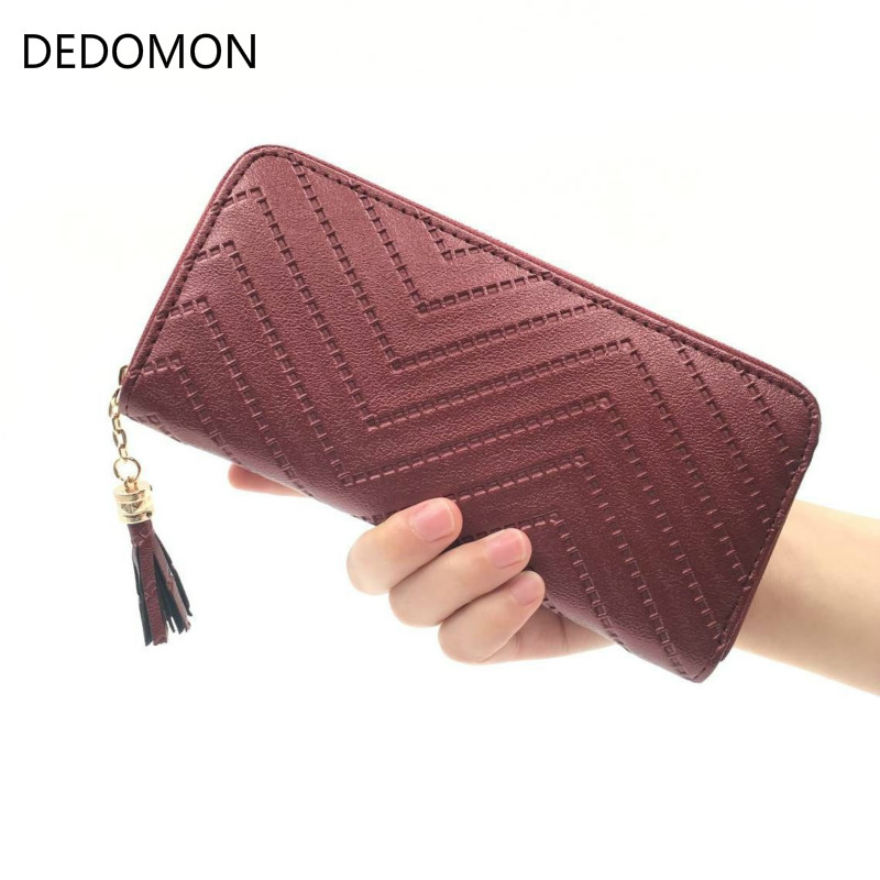2019 long luxury brand designer women wallet clutch high quality leather tassel women purse with zipper card holder Cash Receipt in Wallets from Luggage Bags