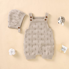 Newborn Baby Rompers Hats Clothes Sets Autumn Winter Solid Knitted Infants Kids Boy Girl Sweaters Jumpsuits Outfits 2pc Knitwear