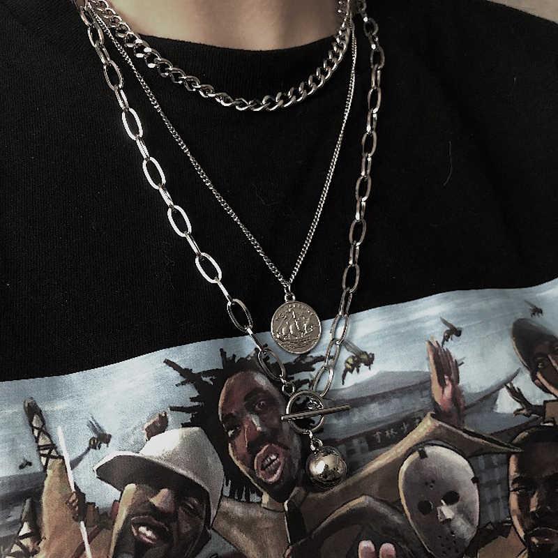 Hip hop Dây chuyền nam nữ cặp đôi Dây chuyền Vòng Cổ Chống Nước Liên Kết Kiềm Chế Chuỗi vòng cổ hip hop mặt dây chuyền nữ trang sức dây chuyền vòng cổ