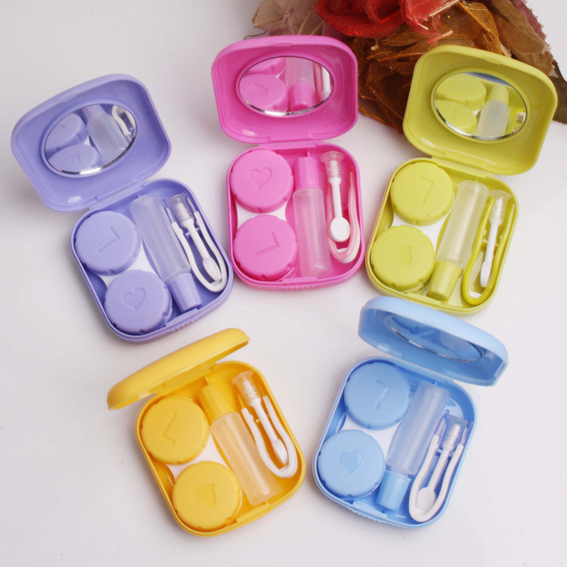 Solid Color Mini Square Contact Lens Case Box Travel Kit Easy Carry Mirror Container.