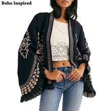 BOHO INSPIRED Womens Black Paisley Jacket Ruffled leeves floral embroidered cardigan jacket women open front chic blazer