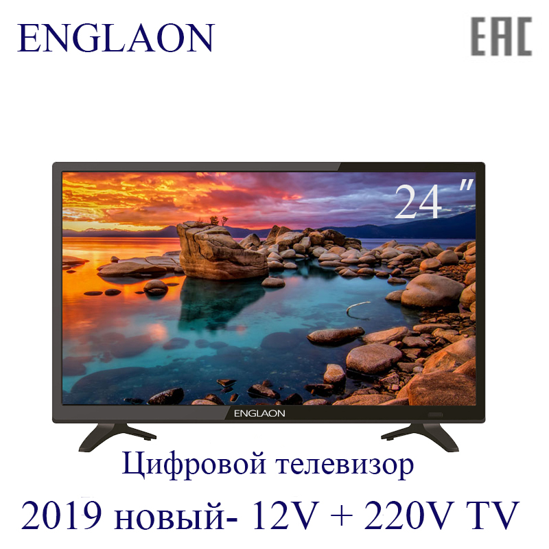 TV 24 Inch LED TV-ENGLAON 12V + 220V HDTV Digital TV Dvb-T2 Home + Car TV 24 Inch TV