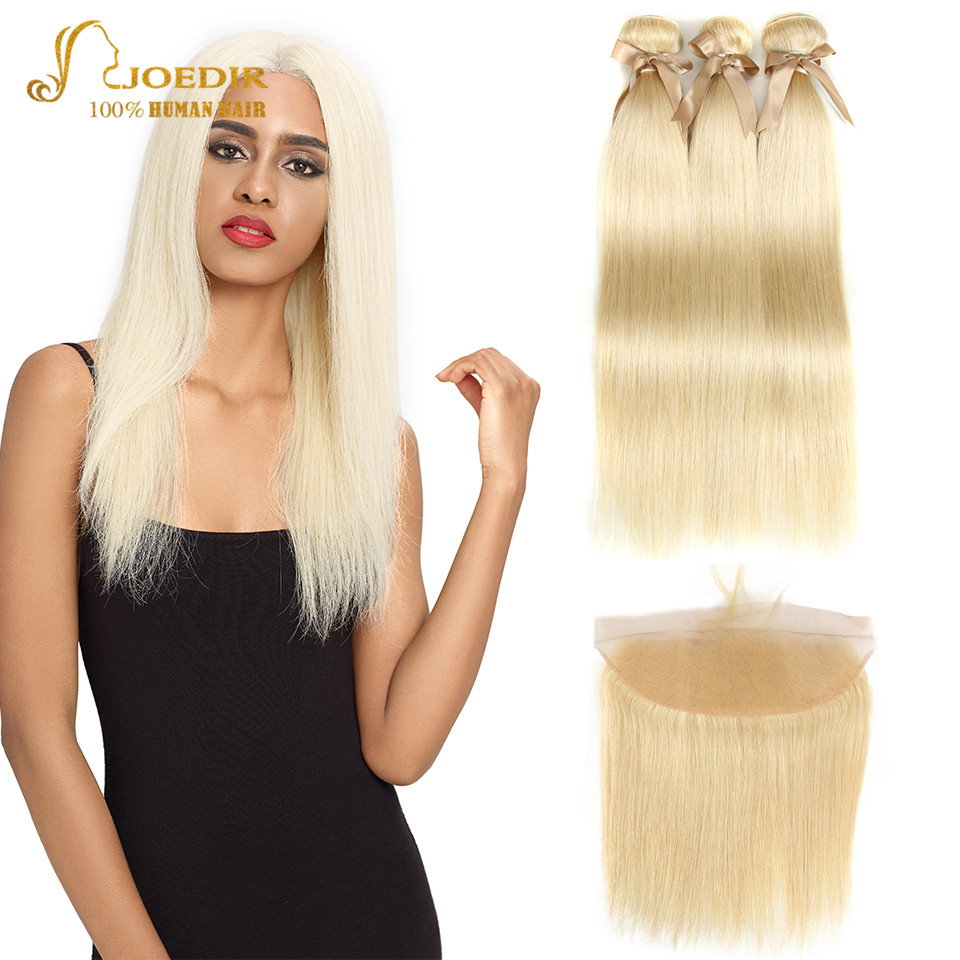 Joedir 613 Blonde Bundles With Frontal Brazilian Straight Hair Frontal With Bundles 3 4 Human Hair Weave Bundles With Frontal