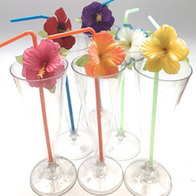 24pcs Straws With Artificial Flowers Tropical Hawaii Party Supplies Fake Flower Straw Summer Luau Wedding Birthday Decor