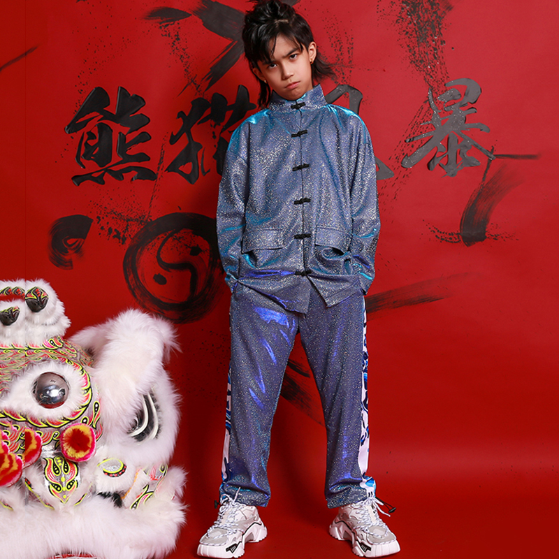 Hip Hop Dance Costumes Children Chinese Style Dragon Print Wushu Clothing Stage Outfit Girls Boys  Jazz Performance Wear DN5008