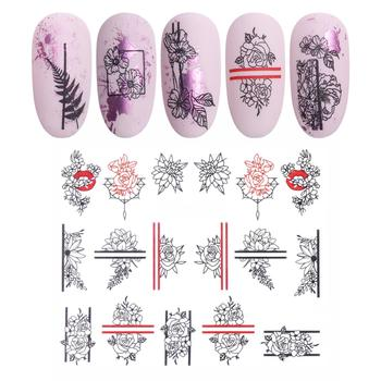 Flower Series Nail Foils Manicure Transfer Stickers Nail Sticker Flower Printed Nail Art Decal Stylish Manicure Decoration Foils image
