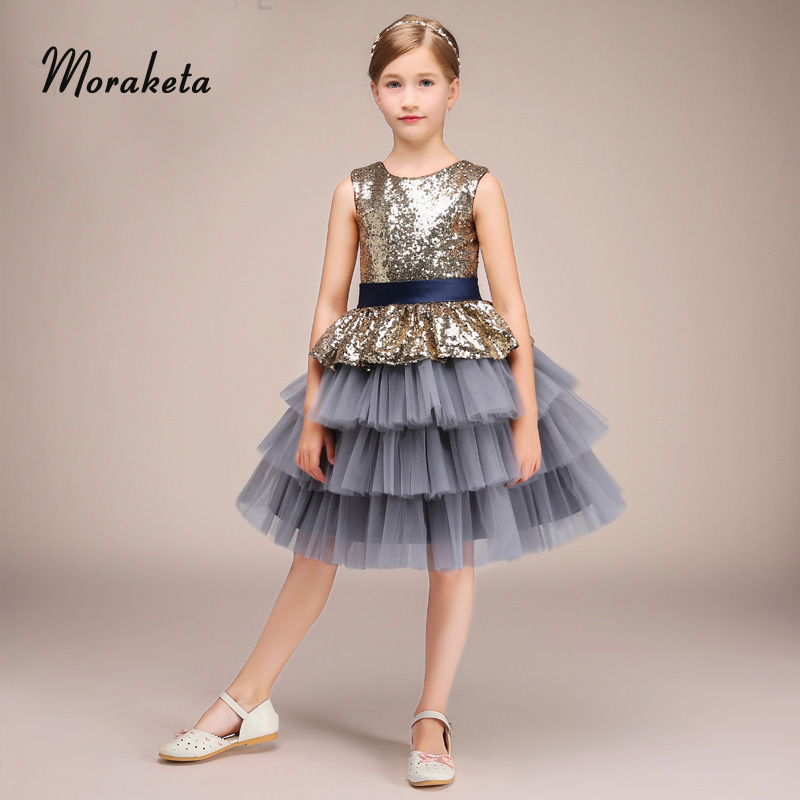 Ball Gown Princess Sequined Tiered Tulle   Flower     Girl     Dresses   2019 New Scoop Neck Sleeveless Short   Girls   Pageant   Dresses