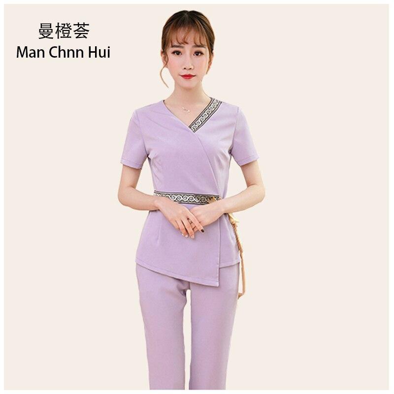 Thai Spa Clothing Plus Size Elegant Women Work Suit Hotel Beauty Salon Nurse Uniform Front Desk Top And Pants Sets Free Shipping