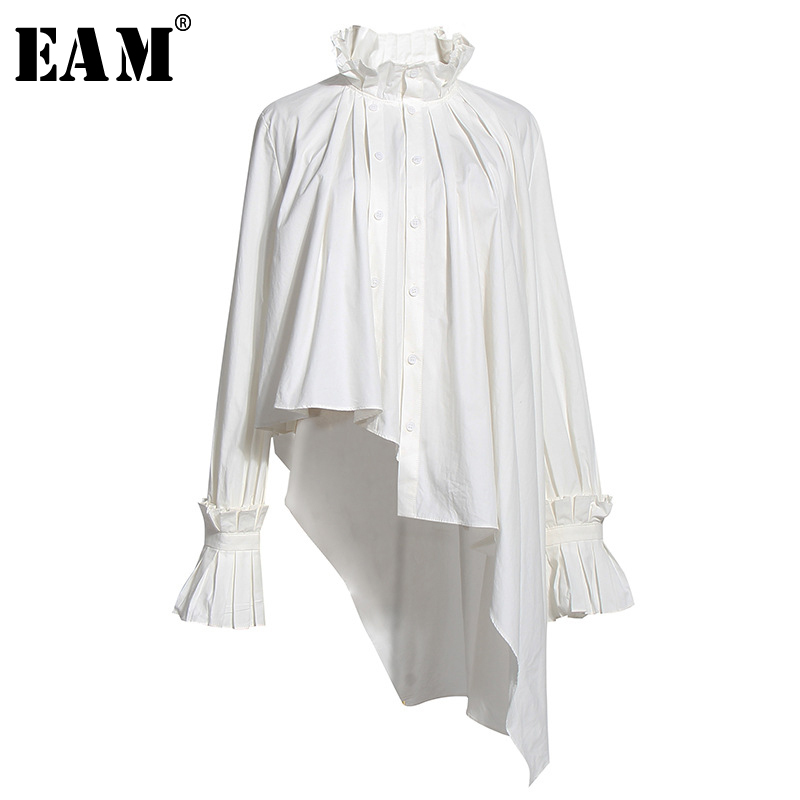 [EAM] Women White Irregular Pleated Big Size Blouse New Stand Collar Long Sleeve Loose Shirt Fashion Spring Summer 2020 1U314