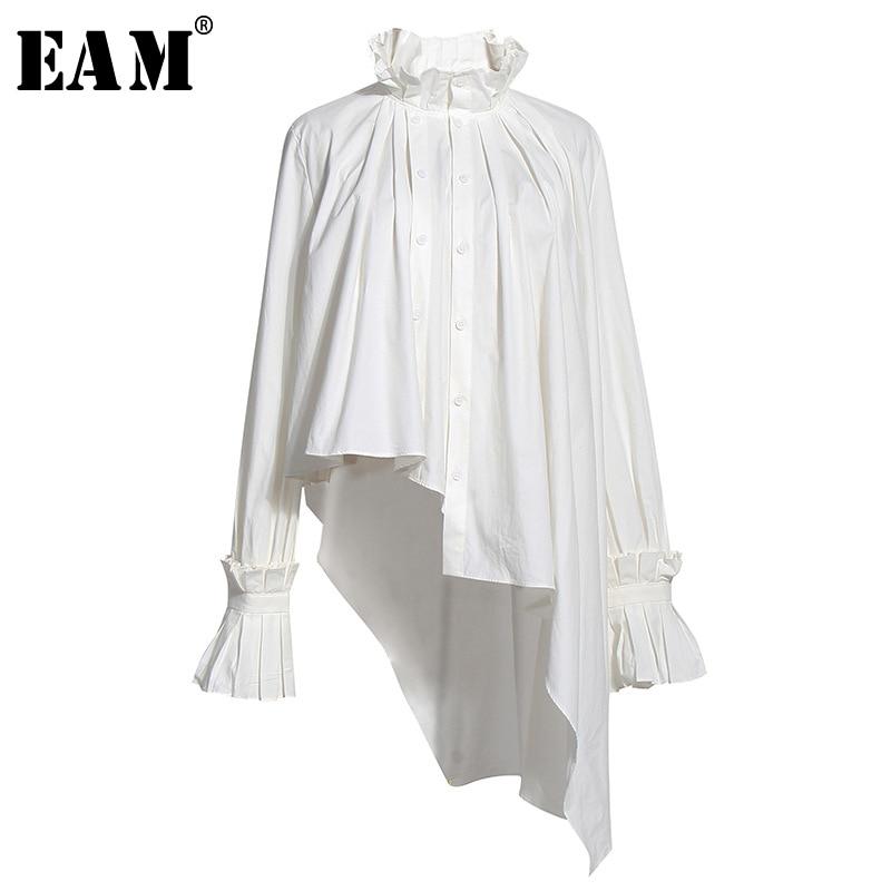 [EAM] Women White Irregular Pleated Big Size Blouse New Stand Collar Long Sleeve Loose Shirt Fashion Spring Summer 2020 1U314