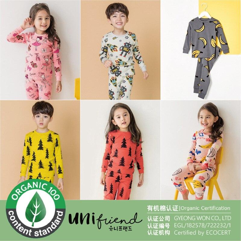 Unifriend Organic Cotton 18 Autumn And Winter New Men And Women Baby Home Wear Underwear Children Slim Fit Medium Thick-